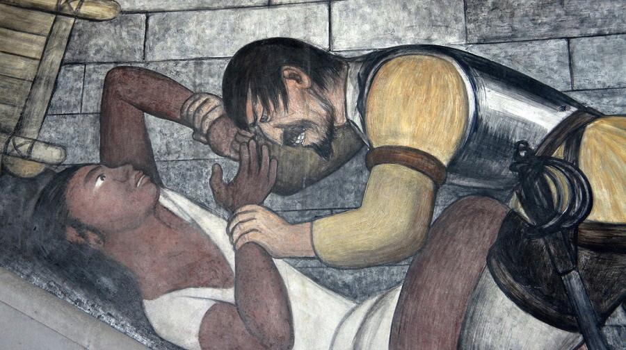 12 del patíbulo de 1492 ¿Cómo blanquear la leyenda negra - Diego-Rivera.-Mural-.Violación.