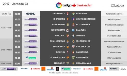 Ya hay horarios de la jornada 23 de LaLiga radiomarcabcn