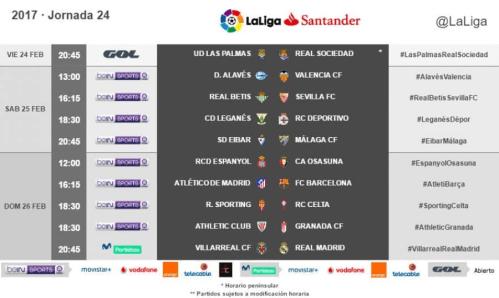 Horarios de la jornada 24 de #LaLiga Santander 2016/17 radiomarcabcn
