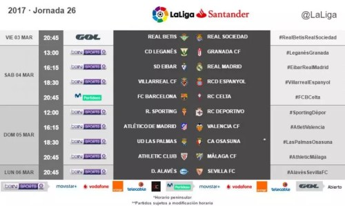 Horarios de la jornada 26 de LaLiga Santander 2016/17 radiomarcabcn