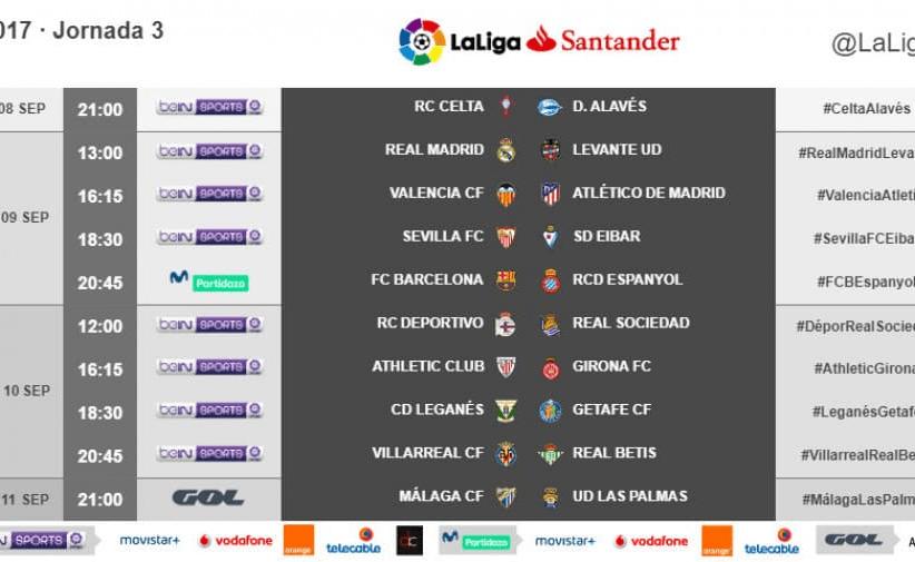 Ya hay horarios para la 3 jornada de LaLiga Santander 2017/18
