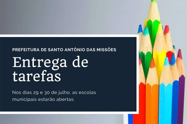 Santo Antônio: entrega de tarefas escolares da rede municipal de ensino seguirá um novo protocolo