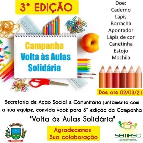 """Secretaria de Ação Social promove a 3ª edição da campanha """"Volta às aulas solidária"""""""