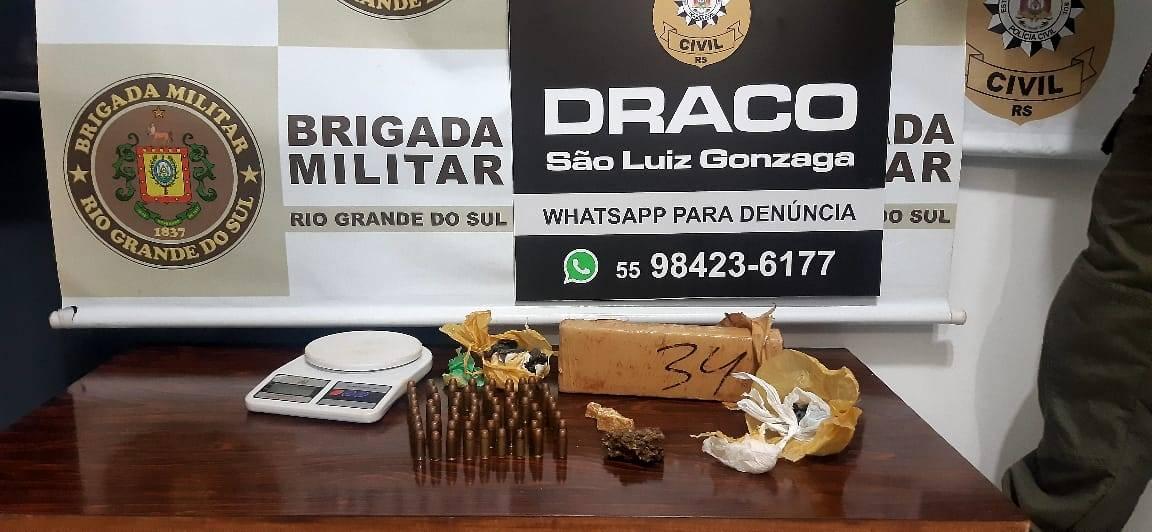 Polícia Civil e Brigada Militar prendem traficante de drogas em São Luiz Gonzaga