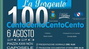 La Sorgente 100, il 6 agosto a Caposele