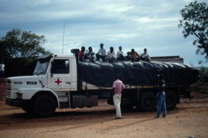 Red Cross lorry carrying relief supplies