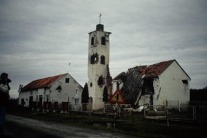 Destroyed church in Croatia
