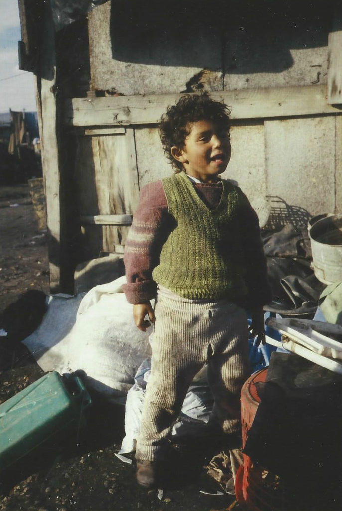Roma child living in a dump in Cluj, Romania