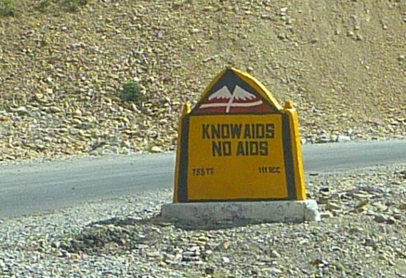 Road sign in Spiti Valley, Himachel Pradesh, India