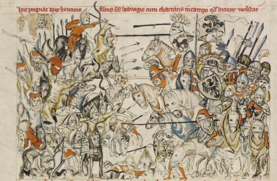 Battle of Legnica (legnitz) 1241. From Legend of Saint Hedwig, 1353, Paul Ghetty museum collection