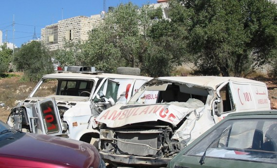 Two Palestinian Red Crescent Society ambulances destroyed by the Israeli army