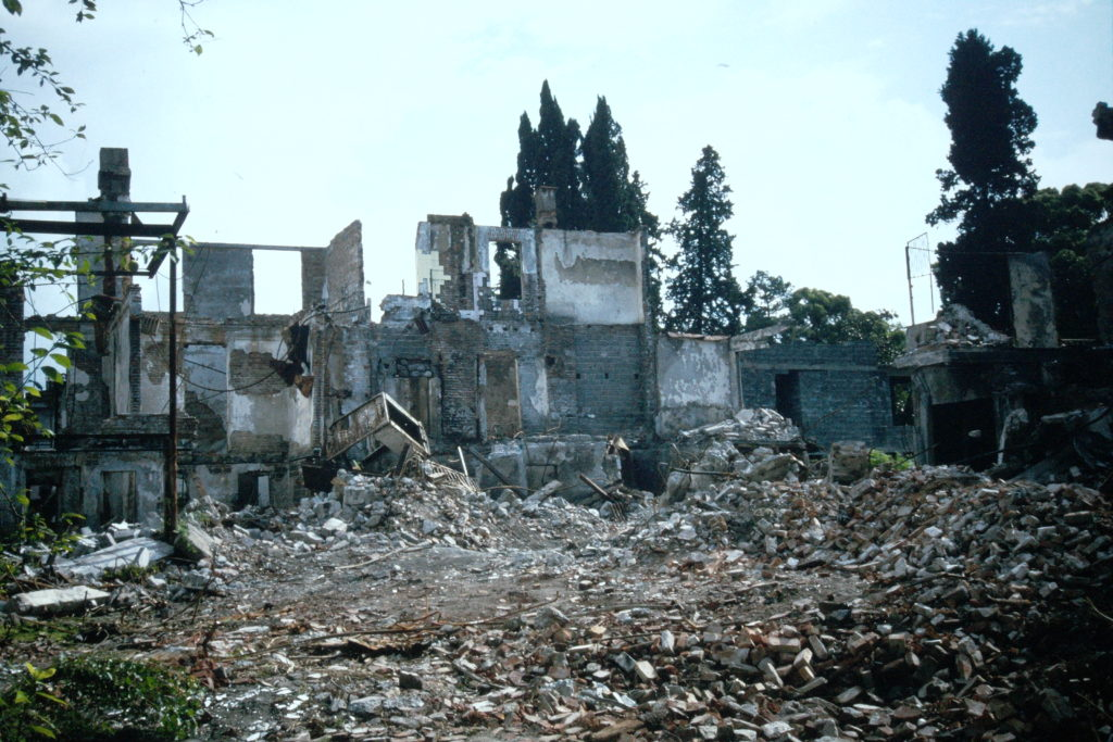 Buildings in Sukhumi destroyed during the conflict