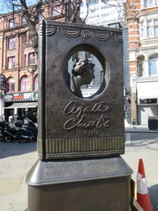 Memorial to the writer Agatha Christie erected in 2012 at the eastern end of Cranbourn Street at the corner of St Martin's Lane.