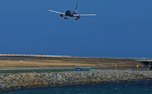 A plane landing in Wellington.