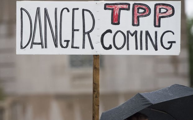 An anti-TPP protest in  Washington DC, earlier this year.