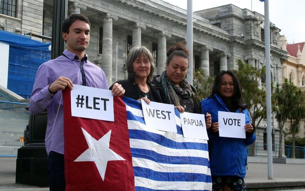 NZ Green MP Catherine Delahunty (second from left) at a small protest for West Papua outside New Zealand's parliament on Tuesday.
