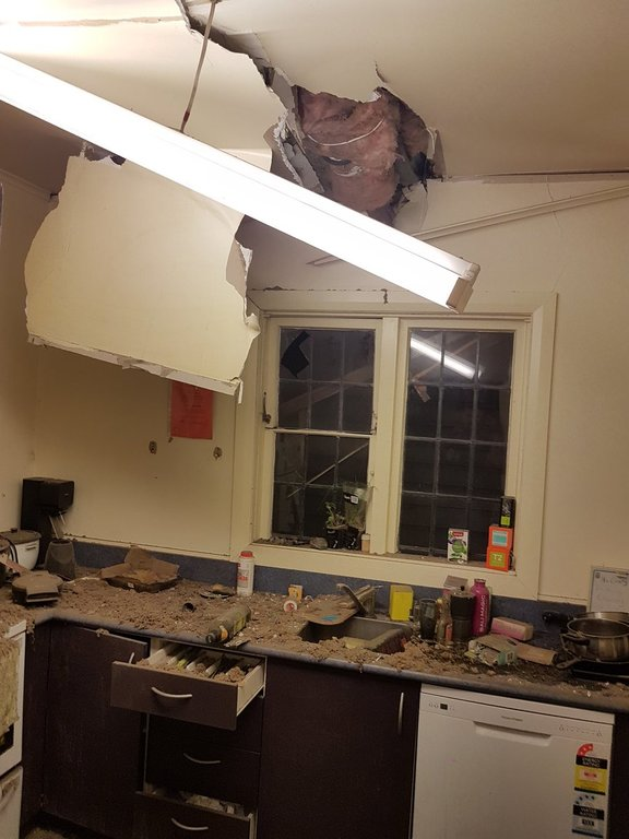 Richard Bicknell tweeted this picture of his kitchen after the severe earthquake.