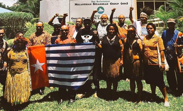 United Liberation Movement for West Papua representatives outside the Melanesian Spearhead Group secretariat, 20 December 2016.