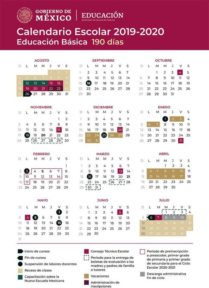 Calendario Escolar 2019 SEP