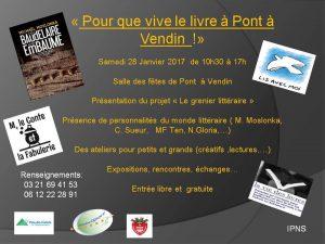 Flyer Pour que vive le livre à Pont-à-Vendin