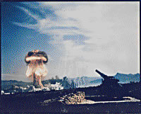 Frenchman Flat, Nevada - Atomic Cannon Test - first atomic artillery shell fired from the Armys new 280-mm artillery gun. Source: Military.com