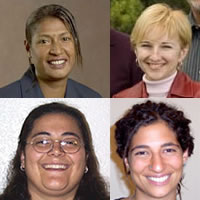 Clockwise from upper left: Anne Kajir, Olya Melen, Dana Rassas and Ilana Meallam. Source: Goldman Environmental Prize, Brigham Young University, Womens Global Action Network (WGGAN)