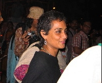 Arundhati Roy at World Social Forum 2004. Source: Aimée Pomerleau.