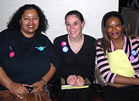 Michelle Colón, President of Jackson NOW, with NOW activists Felicia Brown and Tyffine Jones at the Mississippi Statehouse.  Source: NOW