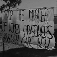 Stop the murder of women prisoners sign. Source: www.womenprisoners.org