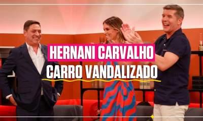Hernâni Carvalho com carro vandalizado