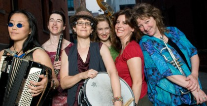 The all-woman klezmer band Isle of Klezbos is photographed in a portrait and in performance at the 92Y Tribeca in New York City on July 26, 2011.