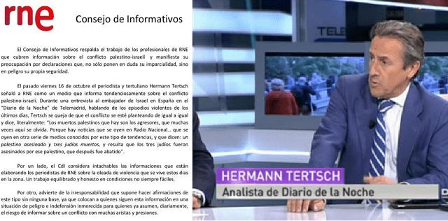 """Hermann Tertsch """"pone en peligro e indefensión"""" a los periodistas de Radio Nacional de España en Israel"""