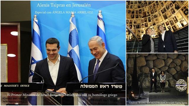 Alexis Tsipras en Jerusalén y Ramala, con Ángela María Arbeláez
