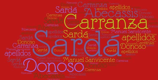 El origen de los apellidos Sardá, Donoso, Carranza y Abecassis