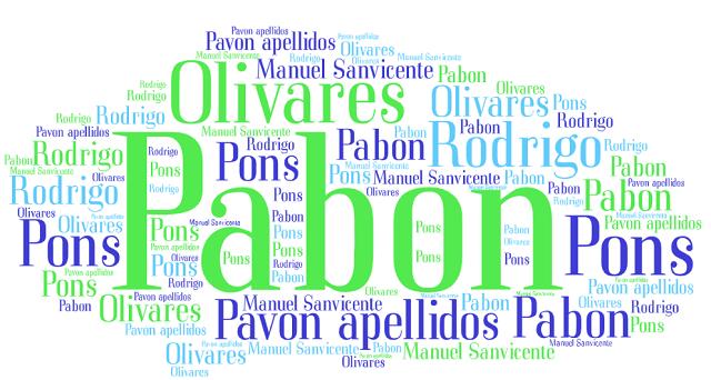 El origen de los apellidos Pabón (Pavón), Olivares, Rodrigo y Pons