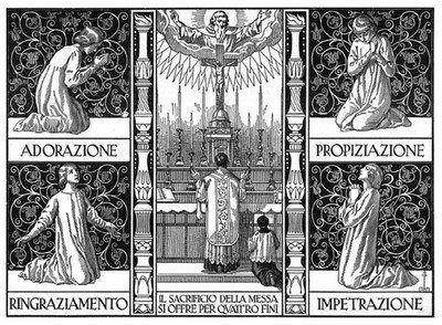 Una immagine che spiega i 4 Fini della Santa Messa.