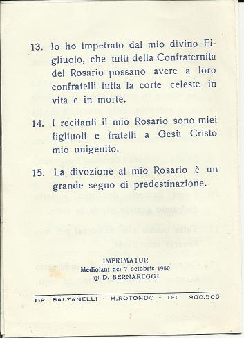 Rosario: 15 Promesse di Maria SS. Imprimatur +