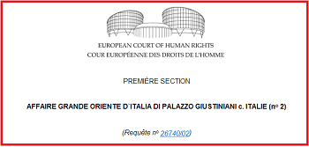 La Corte Europea dei diritti dell'uomo condanna l'Italia e dà ragione alla Massoneria