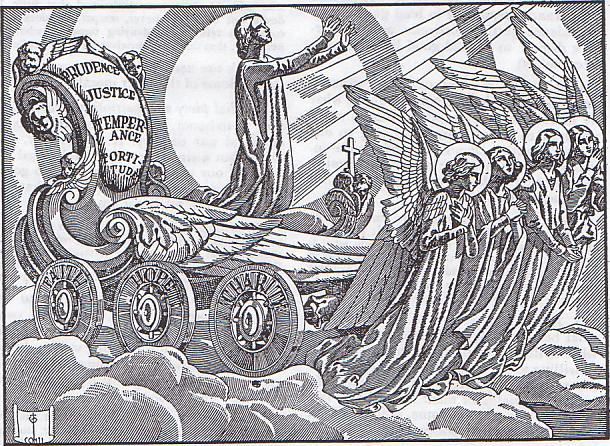 [IMMAGINE STUPENDA (13)] L'anima sorretta dalle virtù teologali e cardinali va in Cielo