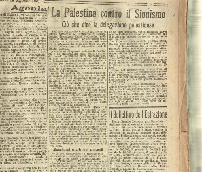 """[Immagine] Anno 1921: quando in Palestina cristiani e musulmani erano """"concordi"""" senza fare """"ecumenismi"""""""