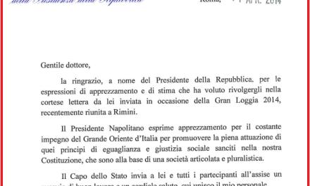 Napolitano nomina Cavaliere di Gran Croce un massone