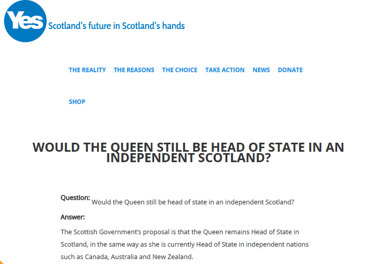 Vittoria referendum scozzese? Il Capo di Stato resta la Regina