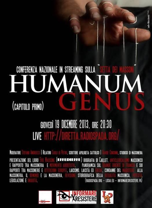 Ricordate 'Humanum Genus', conferenza sulla Massoneria? Il video è sparito