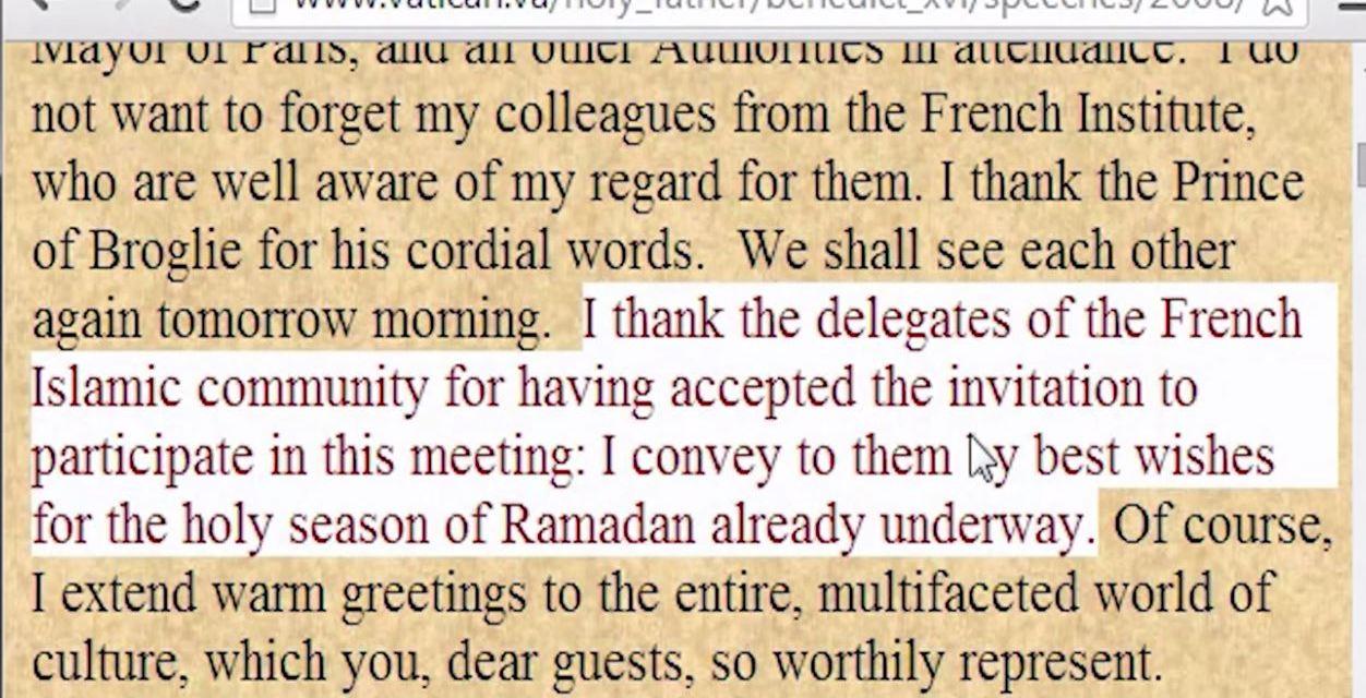 J. Ratzinger: affermazioni su modernismo, nuovo ordine mondiale, Ramadan