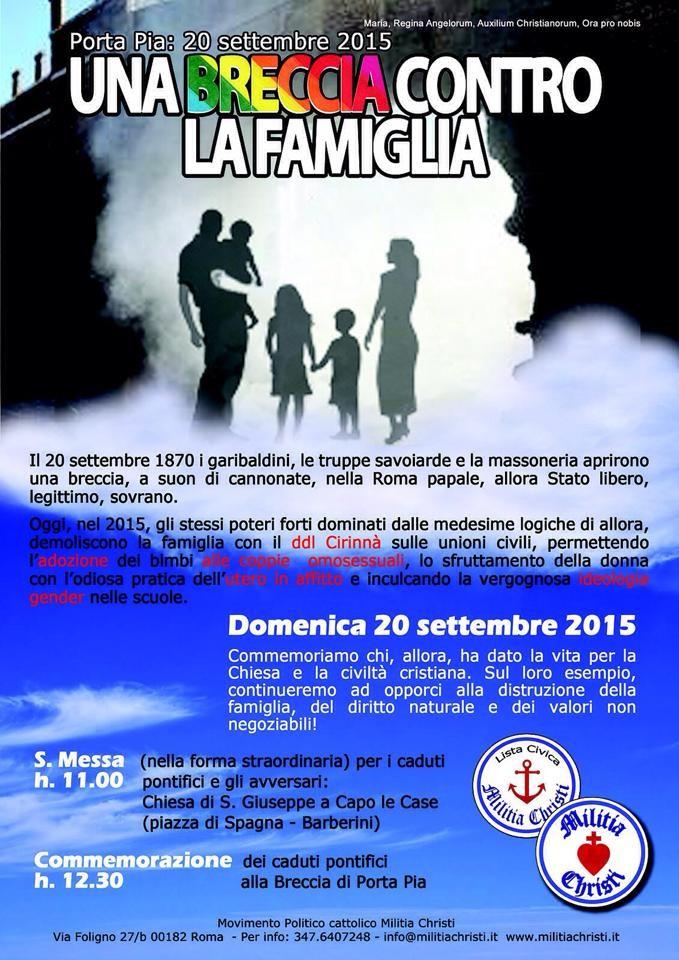 Una breccia contro la famiglia: Porta Pia, 20 settembre 2015