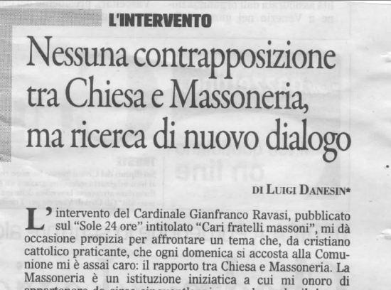 Nessuna contrapposizione tra Chiesa e Massoneria, ma ricerca di nuovo dialogo