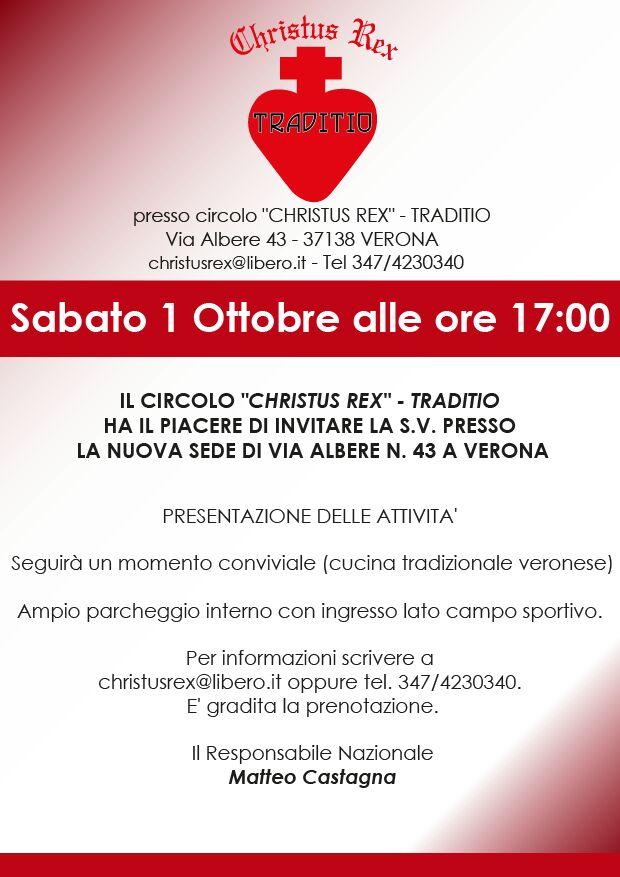 Inaugurazione del Circolo 'Christus Rex' – Traditio, Verona, 1° Ottobre, ore 17