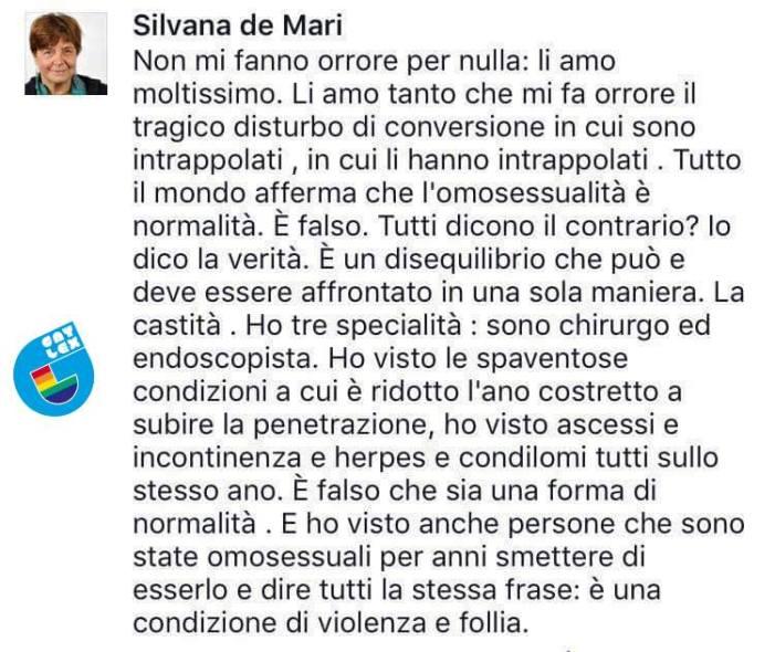 L'indignazione di Sodoma per la testimonianza di Silvana De Mari