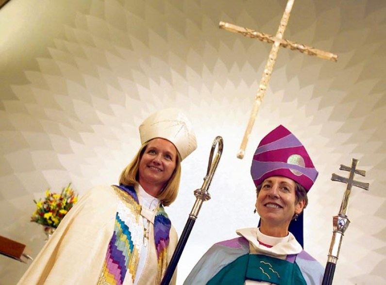 Rev. Mary Gray-Reeves, left, newly ordained bishop of the Episcopal Diocese of El Camino Real and Presiding Bishop of The Episcopal Church, the Most Rev. Katharine Jefferts Schori, right, pose for photos on Saturday, Nov. 10, 2007 at St. Andrew's Episcopal Church in Saratoga, Calif. Mary Gray-Reeves, 44, is the first female Episcopal Diocesan Bishop in the state of California and she will be among the five youngest bishops in the Episcopal House of Bishops. (AP Photo/ Tony Avelar)