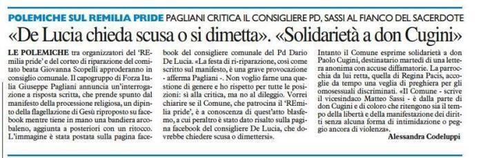 Il consigliere Pagliani scende in campo: interrogazione contro la locandina blasfema della festa del gay pride